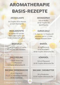 Die 12 besten Aromatherapie Basisrezepte + gratis Rezepte-Übersicht zum downloaden!