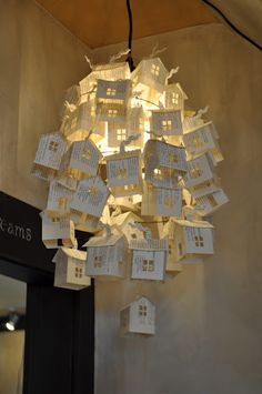 Paper house chandelier. Come take the class