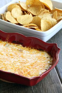 Easy Cheesy Hot Bean Dip. Cream cheese + beans + salsa + cheese (I would try with black beans or refried beans)