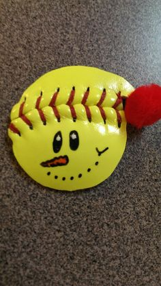Softball Snowman with Hat Ornament on Etsy, $5.00