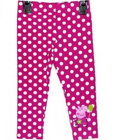 Pretty Peppa Pig Leggings. Pink with all over white polka dots and a mini picture of Peppa Pig on one leg. Elasicated waist for a great comfortable feel. These Peppa Pig Leggings are a great addition to your Peppa Pig fans wardrobe. Available in sizes 9-12 month, 1-1 1/2 years, 1 1/2-2 years, 2-3 years,3-4 years, 4-5 years and 5-6 years.