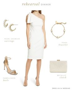 White dress, shoes, earrings, bracelet, and clutch. What to wear to a wedding rehearsal as a bride. #weddings #whitedresses #weddingrehearsal #bridetobe #bride Pretty White Dresses, Cute White Dress, Little White Dresses, Wedding Rehearsal Dress, Rehearsal Dinner Dresses, Day Dresses, Dresses For Work, Bride Dresses, Designer Wedding Dresses