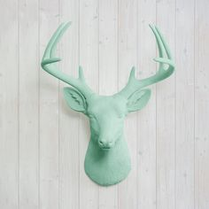 Wall Charmers Deer in Mint Faux Head Green Fake Animal Resin Ceramic... ($85) ❤ liked on Polyvore featuring home, home decor, wall art, green home accessories, green wall art, mounted wall art, stag wall art and turquoise home accessories