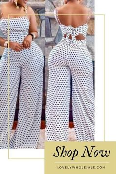 Catch the trend with this fashion sexy dots printed white one-piece jumpsuit! Ex… at Diyanu Fashion Wear, Fashion Looks, Fashion Outfits, Womens Fashion, Cute Dresses, Cute Outfits, White One Piece, African Dress, African Fashion