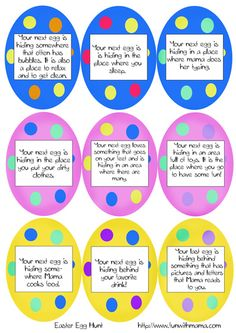 Easter Scavenger Hunt.  Like because there are blank eggs to print to make your own custom egg hunt.
