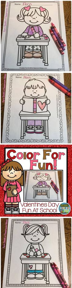 Coloring Pages for Valentine's Day Fun At School! Thirty Valentines Day Color For Fun Printable Coloring Pages #FernSmithsClassroomIdeas Coloring Pages | Coloring Book | Valentine's Day | Color For Fun