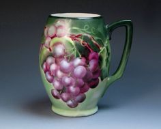 Antique Hand Painted Limoges Porcelain Mug with Grapes by DejaVuPorcelain