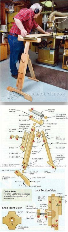 Adjustable Roller Stand Plans - Workshop Solutions Plans, Tips and Tricks | WoodArchivist.com #woodworkingplans #woodworkingbench
