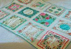 Nice use of vintage hankies. I wish I had saved some of these from my childhood. At that time, ladies and girls usually carried them in our purses.