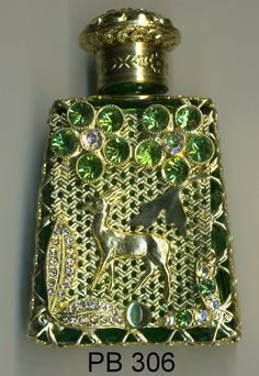 Perfume Bottle, Czech Glass bottle, parfume bottle, flacons - green bottle with dear gold filigree with green and clear stones PB 306 by buttonsandshanks on Etsy