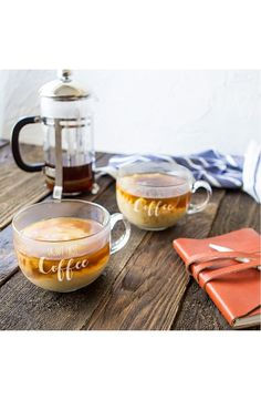 CATHY'S CONCEPTS But First Coffee Set of 2 Glass Mugs