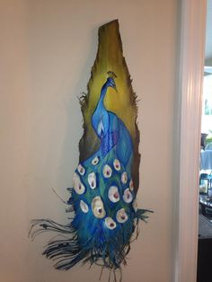 Another palm frond that I painted.  Peacock! Coastal pop art