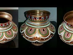 कलश डेकोरेशन । Kalash Decoration for Diwali Kalash Decoration, Thali Decoration Ideas, Decor Ideas, Wedding Art, Wedding Crafts, Coconut Decoration, Indian Wedding Gifts, V Model, Henna