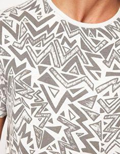 River Island 80s Print Geo Crew T-Shirt