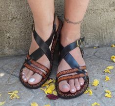 Black And Brown Leather Sandals - Inspiration from Calpas by DaWanda.com