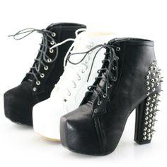 SHOEZY Womens Platform Pumps Lace Up Stud Spike Punk Block High Heels Party Casual Ankle Boots Shoes Colour Black White $36.99