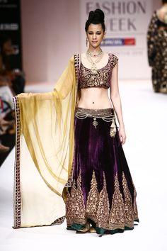 Shyamal and Bhumika velvet deep purple lehenga