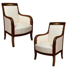 pair of Empire Bergeres | From a unique collection of antique and modern armchairs at https://www.1stdibs.com/furniture/seating/armchairs/