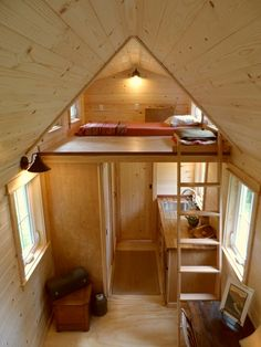 The added space in the loft makes room for windows and a bit more space to crawl around, creating a much more comfortable atmosphere and lessening the chance of smashing your head into the pitched ceiling. #TinyHouseforUs