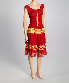 Take a look at the Advance Apparels Red & Gold Embroidered Shirred Sleeveless Dress on #zulily today!