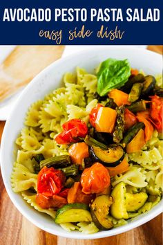 Creamy avocado pesto dresses this roasted summer vegetable pasta salad. Loaded with classic pesto ingredients like basil, garlic and parmesan cheese, the avocado makes it rich and smooth. #sweetpeasandsaffron #summer #simpleingredients #mealprep #pastasalad Roasted Summer Vegetables, Roasted Vegetable Pasta, Vegetable Pasta Salads, Best Lunch Recipes, Salad Recipes, Amazing Recipes, Summer Recipes, Lunch Meal Prep, Meal Prep Bowls
