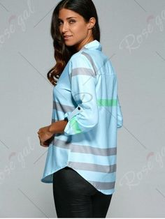 V Neck Color Block Blouse - LIGHT BLUE XL Mobile