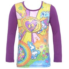 A great shirt blouse with an interesting print from Lipstik is perfect to pair with jeans or casual pants. The blouse has long purple sleeves and a beautiful rainbow colorful print. It has a scoop neckline. She can pair it with her favorite jeans or pants
