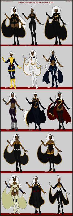 X-Men - Storm Comic Costume Chronology by Femmes-Fatales.deviantart.com on @deviantART