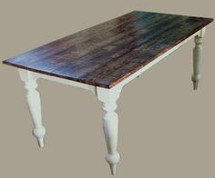 Antique Barnwood Oak Top Farm Table | Old Vermont Reclaimed Barn Wood.
