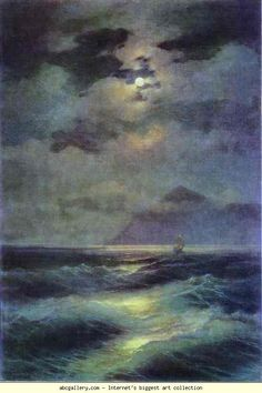 Ivan Aivazovsky. View of the Sea by Moonlight. Olga's Gallery.