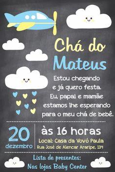 convite cha de bebe nuvem Baby Tea, Baby Scrapbook, Baby Boy Shower, Tea Party, Bernardo, Lucca, Baby Invitations, Diaper Invitations, Simple Baby Shower