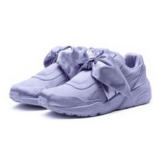 Fenty Puma By Rihanna Trinomic Bow Satin Platform Sneaker ($160) ❤ liked on Polyvore featuring shoes, sneakers, purple, shoes sneakers, puma trainers, wedge heel sneakers, satin shoes, purple platform shoes and purple shoes