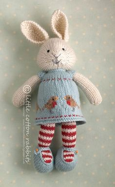 """Little Cotton Bunny Girl."" I love knit stuffed animals for kids. They are so sweet.:"