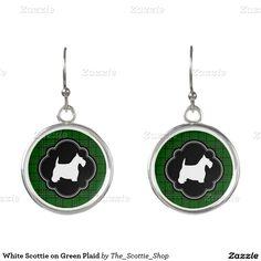 White Scottie on Green Plaid Earrings