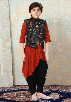 Rust Rayon Readymade Kids Kurta Pajama With Jacket 175308 Kids Indian Wear, Kids Ethnic Wear, Indian Ethnic Wear, Kids Kurta Pajama, Kids Wear Boys, Boys Kurta Design, Pakistani Kurta, Western Suits, Kids Dress Wear