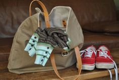Canvas and Leather Bag Canvas Everyday Bag Shoulder by NellHarper