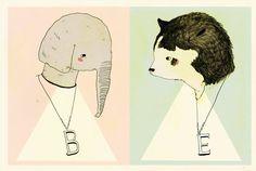 Elephant Bear Greeting Card by Juliapott on Etsy, $4.50