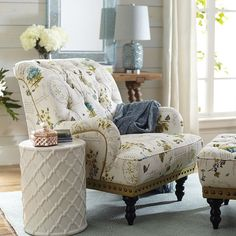 Take a seat in a flowering meadow, offered here in a timeless silhouette. Overstuffed and tufted, this handcrafted armchair comes with vintage charm to spare: Rolled back and arms, ornamental nailhead trim, self-welting and turned hardwood legs. Living Room Furniture, Home Furniture, Living Room Decor, Bedroom Decor, Furniture Ideas, Bedroom Seating, Bedroom Ideas, Master Bedroom, Overstuffed Chairs