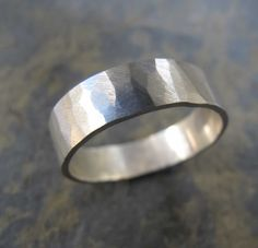 Mens wide hammered ring - Mens hammered wedding band ring This sterling silver band ring is handmade in my London studio. It is 5mm wide and