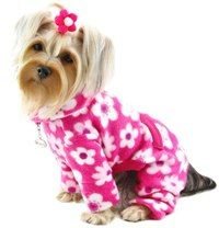 """Klippo - Full Blossom Turtleneck Fleece PJs Bodysuit - Beautiful flower print in soft fleece - can be worn as PJs or bodysuit. Extended collar can be worn as a turtleneck or folded down. Extended sleeves for dogs with longer legs (can be folded up for shorter legs). A functional pocket on the back and an attached large D-ring for easy leash attachment.A small D-Ring near the neckline for a """"Klippo"""" charm or ID tag."""