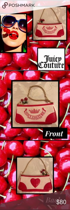 """Juicy CoutureVintageCherryCouture Purse Kiss My CoutureLove P&GVintage Juicy Cherry CouturePurseCrushed Valore the Juicy trademarkred leather trim2 Cherry Charms w/3 leavesdangle from the zipper closurecharm hangs from inside zipperheart logo on detachable chainclutch or wristlet4""""H9"""" L Juicy Couture Bags Clutches & Wristlets"""