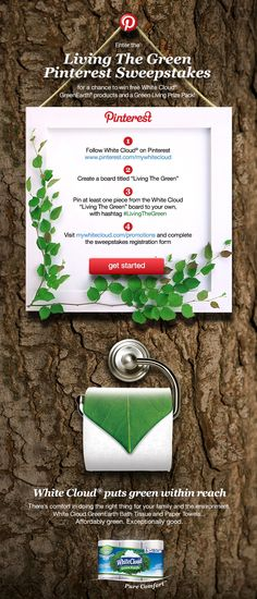 Our White Cloud GreenEarth® Pinterest sweepstakes is under way! Don't forget your #LivingTheGreen hashtag! (Official Rules: http://mywhitecloud.com/pinterest-living-green-rules)