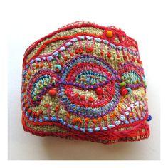 Hand Embroidered Multi-Colored Cuff. $93.00, via Etsy.