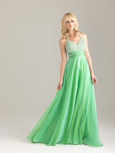 Halter Empire Sweetheart Sequin Open Back Green Floor-length Prom Dress a74d0ab67