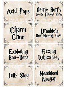 Resultado de imagen para harry potter candy printables