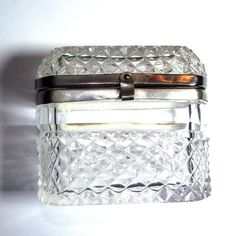 Antique Glass Casket Box Jewelry - Diamond Point Lead Crystal Silver Plate