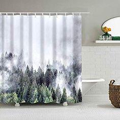Empty ski slope in winter Shower Curtain Waterproof Decor Bathroom Mat 12hooks