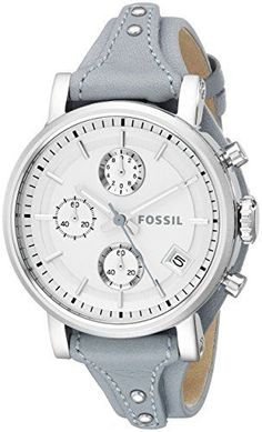 Fossil Women's ES3820 Original Boyfriend Watch With Blue Leather Band Sale! Up to 75% OFF! Shot at Stylizio for women's and men's designer handbags, luxury sunglasses, watches, jewelry, purses, wallets, clothes, underwear & more!