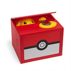 Just place a coin on the yellow space on the top of the box, press down, and Pikachu will reach out to grab your coin, talking and laughing all the while. Pikachu says up to 200 different phrases and sounds.  From Think Geek