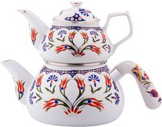 OTTOMAN,TRADITIONAL PORCELAIN&ENAMEL DOUBLE TEAPOT/TURKISH TEA KETTLES,CAYDANLIK #simay #traditional